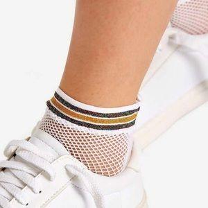 ⚡️ Edgy and Sporty Fishnet Socks Shiny Stripe⚡️